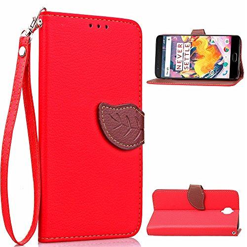 EKINHUI Case Cover Mischen Sie und passen Sie Farben-Blatt-magnetische Wölbung PU-lederner Fall-Mappen-Standplatz-Beutel-Abdeckung mit Lanyard für OnePlus 3 ab ( Color : Red ) Red
