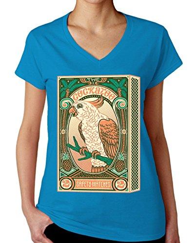 The Cockatoo Matches Box Design Women's V-Neck T-Shirt XX-Large (Tee Parrot Cockatoo T-shirt)