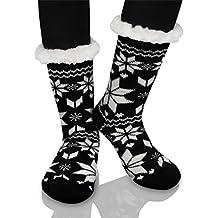 70f20a74c2d Femme Chaussons Chaussettes d hiver Laine Pantoufle Chauds Douillets Thème  Noël avec doublure en polaire