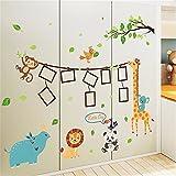 Bomeautify Wandtattoos Wandbilder Kinderzimmer Dekoration Kinderzimmer Wand Fotos Tapete Aufkleber Schlafzimmer Nachttisch selbstklebende Cartoon Tier Papier, 60 * 90cm