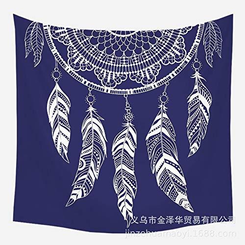 Tapiz De Pared Bohemio Hippie Trippy Azul Tela con Estampado De Atrapasueños, Gran Decoración De Pared De Arte Moderno Rectangular para El Dormitorio De La Sala De Estar, 150 X 130 Cm