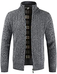 deeb2ab399b6 Mens Knitted Cardigan Thick Sweater Full Zip Wool Stand Collar Cardigans  Coat Fleece Lined Long Sleeve