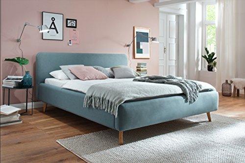 Polsterbett 180x200 mit Holzfüßen in Eiche l Stoffbezug Eisblau l meise.möbel