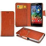 (Brown) Motorola RAZR HD XT925 Super dünne Kunstleder Saugnapf Wallet Case Hülle mit Credit / Debit Card SlotsBy Spyrox