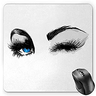 BGLKCS Eye Mauspads,Flirty Attractive Woman with Blue Eyes and Thick Lashes Beauty Glamor Youth,Standard Size Rectangle Non-Slip Rubber Mousepad,Blue Black Pale Grey