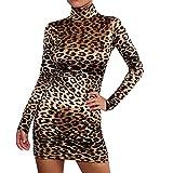 1854f8ae4f beautyjourney Vestido de Mujer Vestido de Cadera Delgado Leopardo Mini  Vestido Ajustado de Manga Larga de