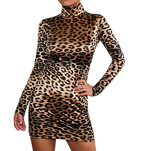 (Oliviavan Damen Kleider Sexy S-Typ Frauen Kleid Leopard Sexy Slim Bag Hip Langarm Kleid Bodycon Kleid Leopardenmuster Vintage Retro Cocktailkleid Rockabilly Kurzer Rock Hüftrock)