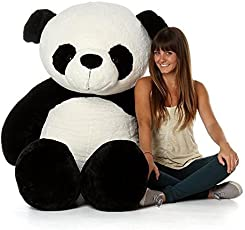 HOLME'S Girl's Silk Stuffed Spongy Huggable Cute Panda Teddy Bear, 4 Feet (White and Black, Panda)