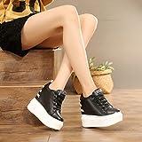 HBDLH spesso il fondo in alto all'interno uno spessore di dodici centimetri di tacchi sport muffin le scarpe di cuoio solo scarpe scherzando tempo libero 39 black