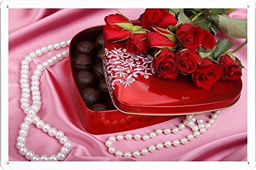 Metall Poster Blechschilderplatte Blechschild Plakat Flower Tin Sign Roses Flowers Bouquet Candy Beads Pearls Fabric Romance 31333 Retro Weinlese Kunstdrucke by hamgaacaan (20x30cm)