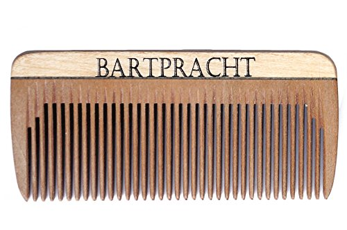 Bartpracht Bartkamm | Holzkamm (8cm) | Handgefertigt | Antistatisch | Taschenkamm | Premium Bartpracht Qualität | Naturprodukt | Made in Germany | inkl. GRATIS eBook zur Bartpflege
