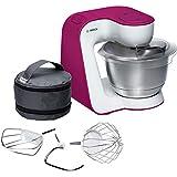 Bosch MUM54P00 Küchenmaschine StartLine, 900 W, 3,9 L Edelstahl-Rührschüssel, 3D Rührsystem, 7 Schaltstufen, weiß / wild purple
