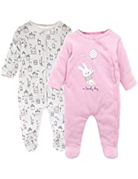 Pack de 2 Pijama para Bebé, Manga Larga Mameluco Pelele Mono Body Trajes 0-