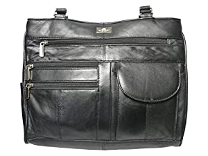Ladies Leather Handbag in Soft Black Leather - Shoulder Bag with 2 Top Handles – 8 Pockets – 2 Large Zipped Main Sections – Medium Practical Size - Womens Handbags by Quenchy London QL173