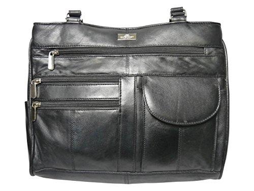 Damen Leder Handtasche aus weichem Schwarzen Leder - Schultertasche mit 2 Oberen Griffen - 8 Innentaschen - 2 Große Reißverschluss Hauptfächer - Medium Praktische Größe Frauen Handtaschen von Quenchy