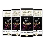 Lindt Excellence 85% Cacao milde Edelbitter-Schokolade (vegan, glutenfrei, laktosefrei) 4 x 100g