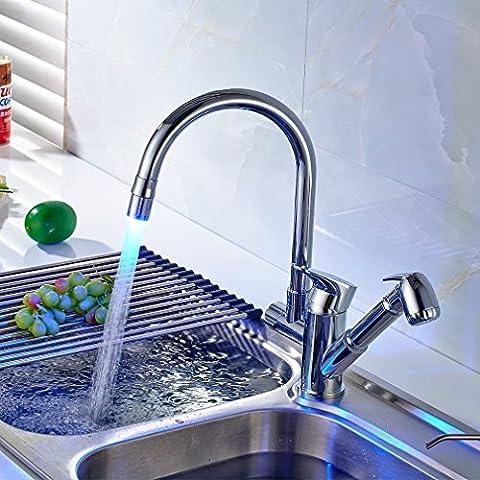 Auralum® LED Grifos para Fregadero de la Cocina Rotación de 360 ° Calientes y Frías Mezclador Cocina del Grifo con Extraible de la Ducha Pistola Rociadora ,