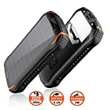 elzle Solar Charger 26800mAh, Solar Power Bank 15W(5V/3A) output fast charging waterproof External Backup Battery (two 3.1A USB and one Type-C output) and LED Flashlight for ios, Samsung Galaxy etc