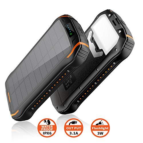 【2019 Upgrade Version】 Powerbank solar 26800mAh, Solar Ladegerät schnelles Aufladen mit 2 Eingangsports/ 3 Ausgängen Tragbarer wasserdichter externer Backup-Akku für Smartphones, Outdoor-Aktivitäten