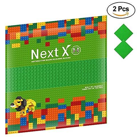 NextX 2 Stück Grundplatte für Classic Bausteine Plastik Bauplatte 25 x 25 cm - Grün (Ghostbusters Kostüm Diy)