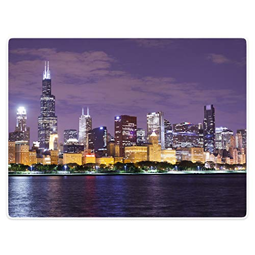 Decke Komfort Wärme weicher Plüsch Überwurf für Couch Chicago Skyline Stadtbild Illinois Einschlafen des, Polyester, violett, 40
