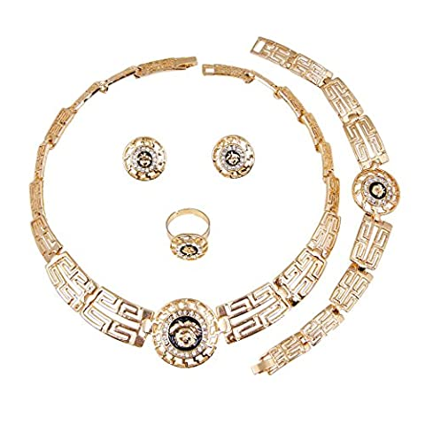 Imitated 18K Gold Plated Necklace Earrings Bracelet Ring Set African