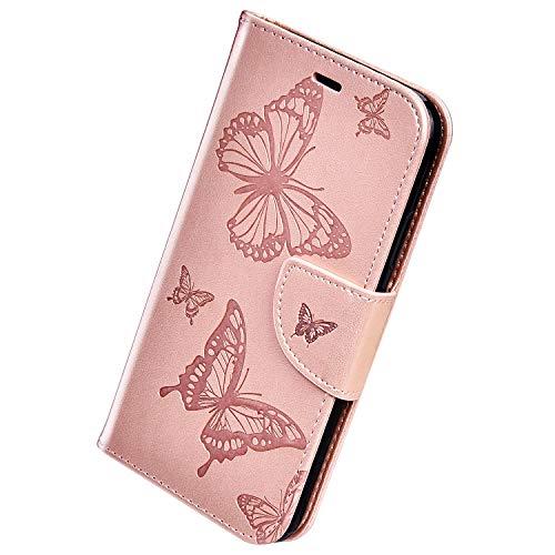 Herbests Compatible con Samsung Galaxy A10e Funda, Flip Case Funda con Tapa Estuche de Cuero Cartera en Relieve Mariposa con Cierre Magnético Soporte Plegable Color Puro Cover,Oro Rosa