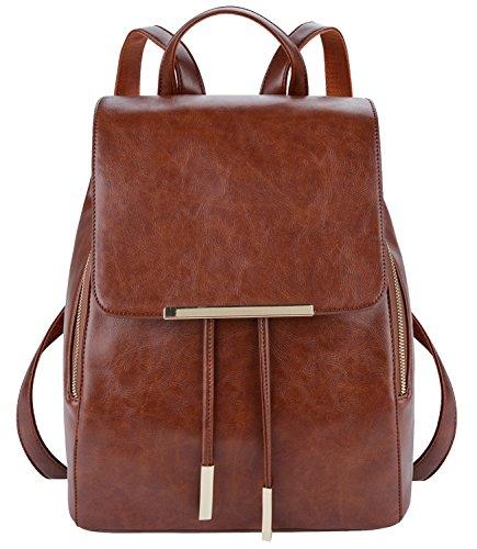 Damen Rucksack,Coofit Leder Rucksack Schulrucksack für Mädchen Schultasche Casual Daypack Schulrucksäcke Tasche Schulranzen (brown Coofit)