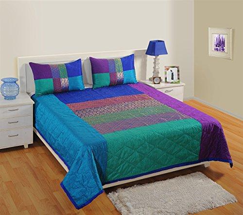 1Gesteppte Tagesdecke mit 2Kissenbezügen für Doppelbett, Kunstseide und Brokat Woven, Multi Farbe
