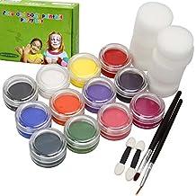 BMC Infantil Fiesta Actividad Divertido Rostro Cuerpo Piel no tóxico Pintar y Plantilla Kit Sets - Pintura + Aplicador Juego