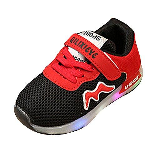 Mädchen Jungen LED Schuhe Sneaker - Kinder Schuhe LED Schuhe Breathable Led Lenuchtende Schuhe Licht Schuhe Running Sport Kleinkind Turnschuhe Schwarz 25 Kootk
