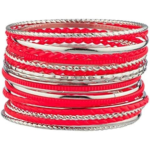 Lux accessori, colore: fucsia misto tessuto Multi-Bracciale in metallo