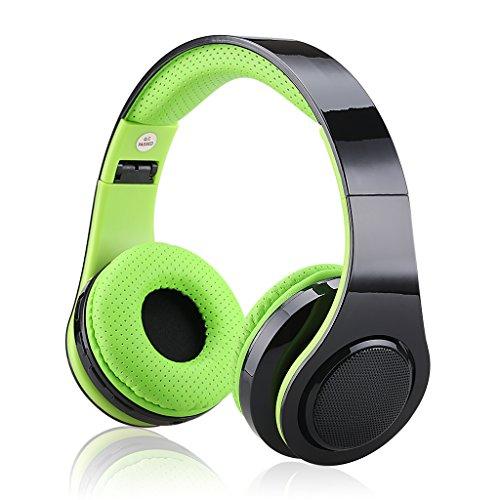 EXCELVAN Bluetooth Kopfhörer Headset LED Stereo faltbarer Leichtkopfhörer FM Radio unterstützt Mirco SD Karte 3.5mm Audio Schnittstelle Grün (Bluetooth-kopfhörer Grün)