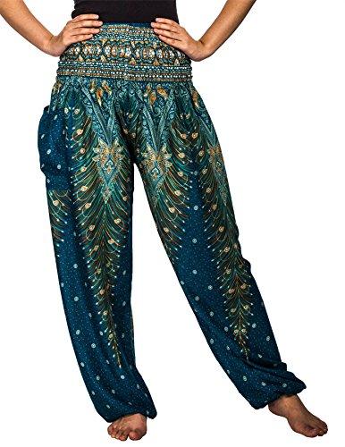 Lofbaz Damen Haremshose mit gesmoktem Buntes Pfauenmuster 1 Teal Grün M (Grün M&m Kostüm Damen)