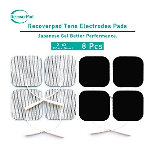 RecoverPad 8pcs 50x50mm Profesional TENS Electrodos,3rd Gel japonés Sin látex Electrodos(CE/FDA Aprobado),Mejor desempeño autoadherente para electroestimuladores TENS EMS