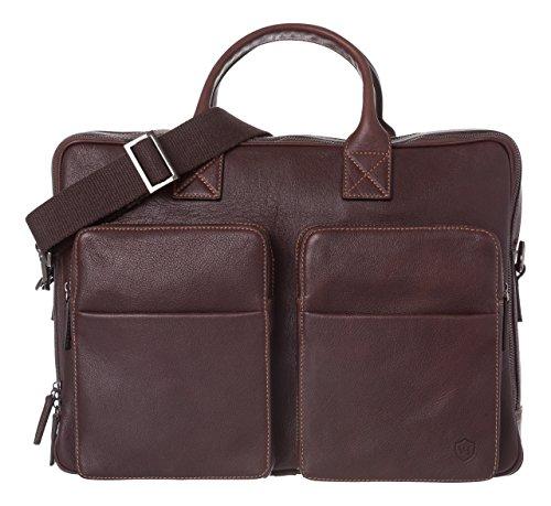 Tumi Leder Tasche (VON HEESEN Laptoptasche bis 15,6 Zoll I Made in Italy I 3 Hauptfächer I Umhängetasche für Laptop I Aktentasche Leder für Notebook I Tasche für Damen und Herren (Braun))