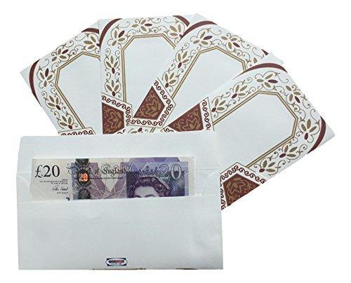 E100_Mar: 5er Pack kastanienrot handgemachtes Papier Shagun Salami Geschenk Geld Umschlag Geldbörse mit Gold Paisley Design
