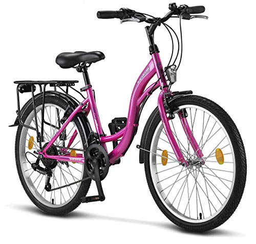 Licorne Bike Stella (Rosa) 24 Zoll Kinderfahrrad, ab 135 cm, Fahrrad-Licht, Shimano 21 Gang-Schaltung, Damen-Citybike, Mädchen-Citybike, Mädchenfahrrad, geignet für 8,9,10,11, Mädchen, Fahrrad