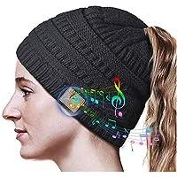 Gorro Bluetooth, Gorro Bluetooth Inalámbrico, Gorro de Invierno Mejorado Bluetooth 5.0 con Auriculares, Gorro Bluetooth Lavable, Suave Cálido para Mujeres Deportes al Aire Libre, Regalos para Navidad