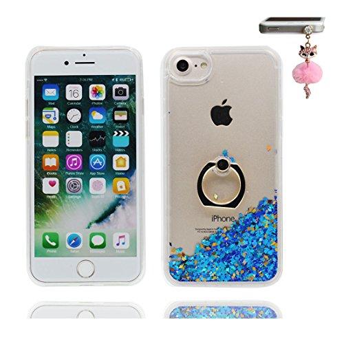 """iPhone 7 Coque, Étui Cover pour iPhone 7 4.7"""", Bling Glitter Fluide Liquide Sparkles Sables Shell iPhone 7 Case 4.7"""", perceptible Résistant à la poussière Scratch ring Support & Bouchon anti-poussière # 7"""