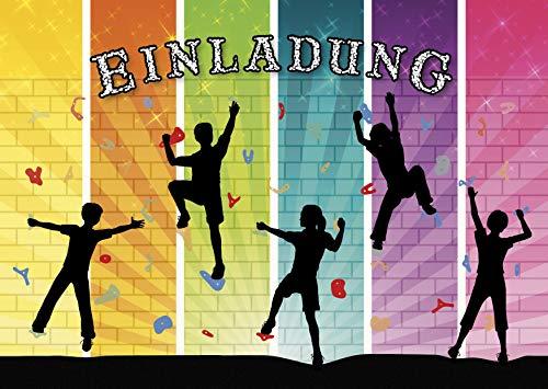 10 bunte Einladungen zum Klettern/Einladungskarten zum Boulder-Kindergeburtstag für Mädchen und Jungen von EDITION COLIBRI (11064)