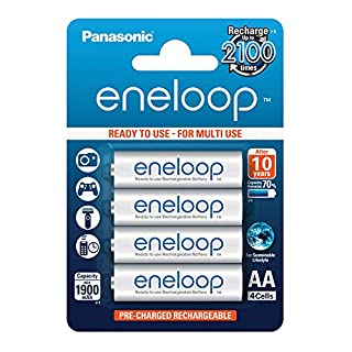Panasonic eneloop, Ready-to-Use Ni-MH Akku, AA Mignon, 4er Pack, min. 1900 mAh, 2100 Ladezyklen, starke Leistung und geringe Selbstentladung, wiederaufladbare Akku Batterie, Akkubatterie (B00IWS52MI)   Amazon Products
