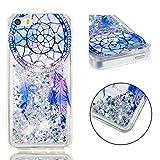BONROY Coque, Etui Housse Liquide Crystal Coque Transparente Silicone TPU Case Cover Bling Glitter Sparkle Briller Quicksands pour iPhone Se /5S / 5-(Carillon éolien TPU-Dream)