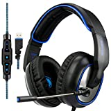 SADES R7 Gaming Headset, USB Headset Stereo Over-ear Gaming Headphones Supports Virtual 7.1-Channel Surround Sound with Retractable Microphone EQ Bass Boost Button LED Backlit for PC & Mac(Black)