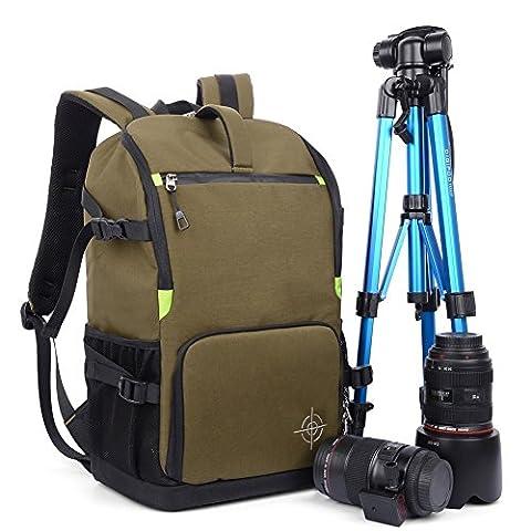 Sac à Dos Appareil Photo, Beaspire Sac à Dos Housse Sacoche anti-choc Imperméable Randonnée pour vidéo caméra reflex numérique SLR (Marron)
