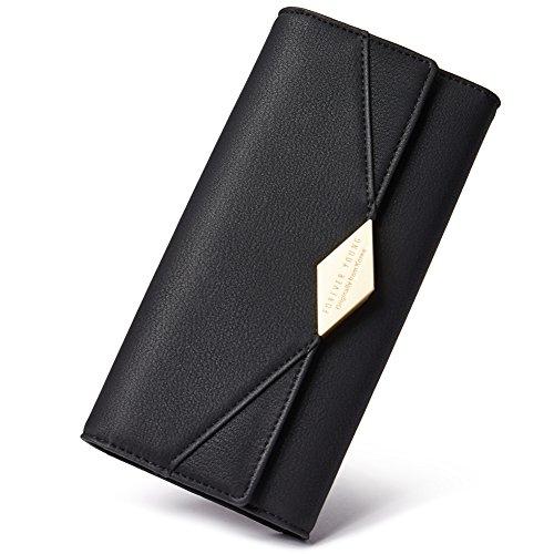 Damen Geldbörse Weich Leder viele Kartenfächer Lang Portemonnaie Clutch Geldbeutel für Frauen mit Münzfach schwarz -