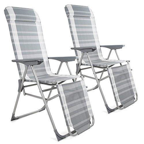 ESTEXO 2 x Klappliegestuhl mit Armlehne, Klappstuhl, Gartenstuhl, Sonnenliege, Campingstuhl, Relaxstuhl, Liege -