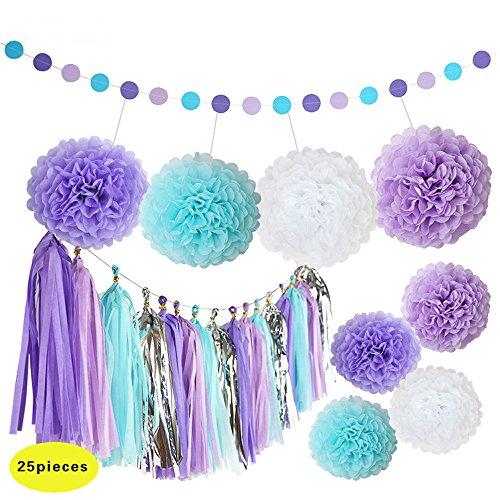 (Ipalmay 25 Pcs Purple Lavender Blue White Decoration Set Variety of Tissue Pom Poms with Tissue Tassel Polka Dot Paper Garland,Purple Theme Bridal Shower Decor)