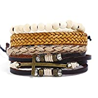 Aooaz 4Pcs Bracelets with Faux Leather Leather Bracelet Teens Leather Bracelet Set