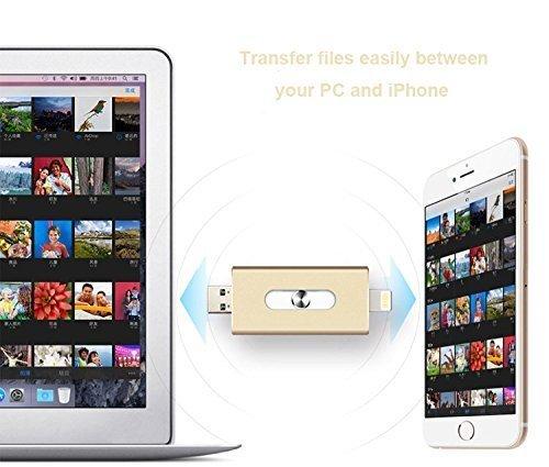 Speicher-Stick mit 16GB USB Stick für iPhone 5/5S/5C/6/6S iPad Air/Mini iPod Touch (Gold)